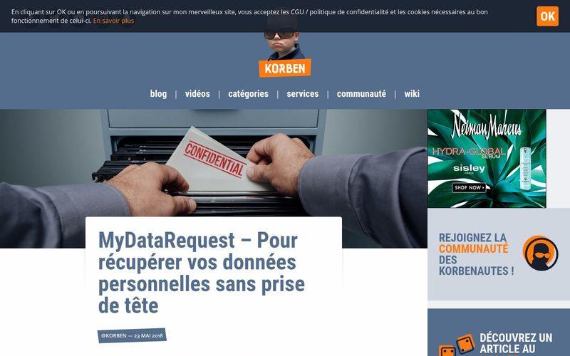 MyDataRequest - Pour récupérer vos données personnelles sans prise de tête : Korben
