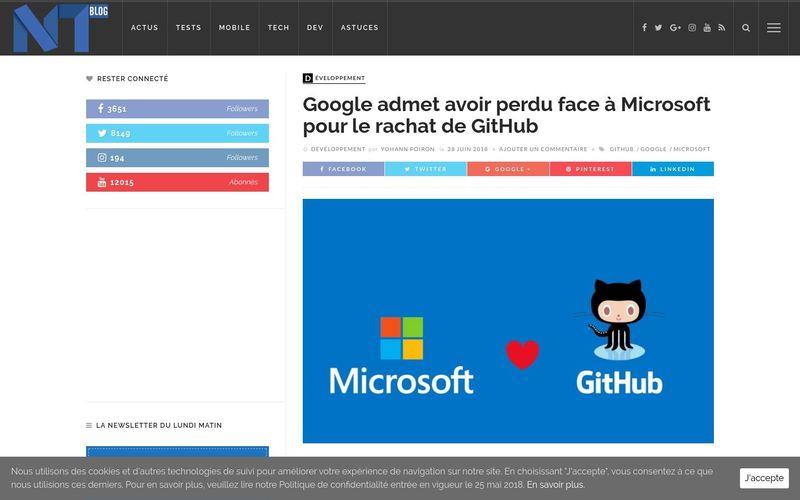 Blog nouvelles technologies : Google admet avoir perdu face à Microsoft pour le rachat de GitHub