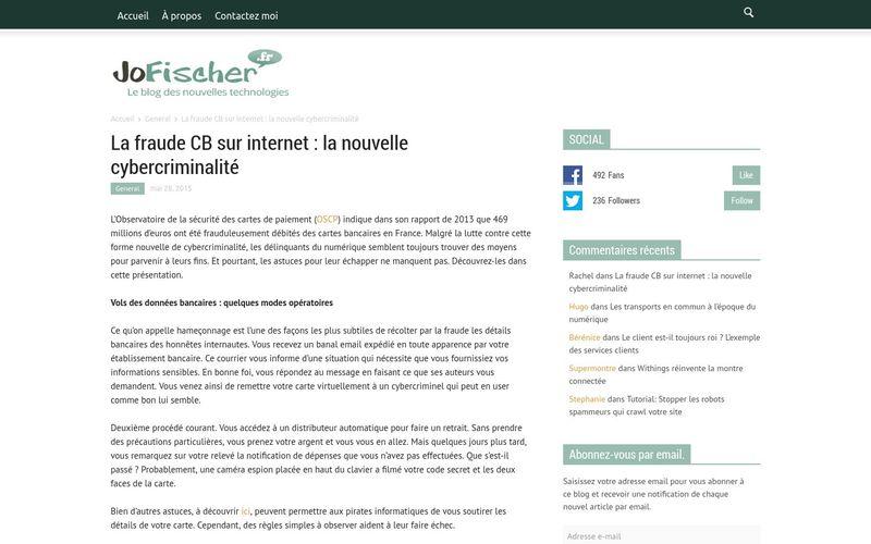 Jofischer : La fraude CB sur internet, la nouvelle cybercriminalité
